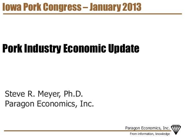 Iowa Pork Congress – January 2013Pork Industry Economic UpdateSteve R. Meyer, Ph.D.Paragon Economics, Inc.                ...