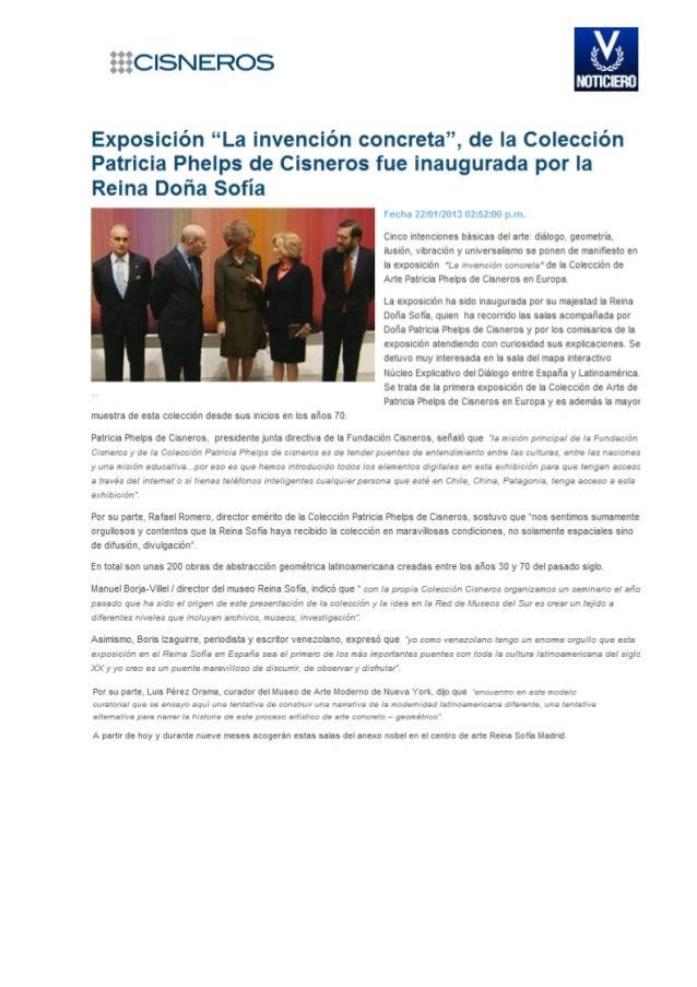 """Exposición """"La invención concerta"""", de la Colección Patricia Phelps de Cisneros fue inaugurada por la Reina Doña Sofía."""