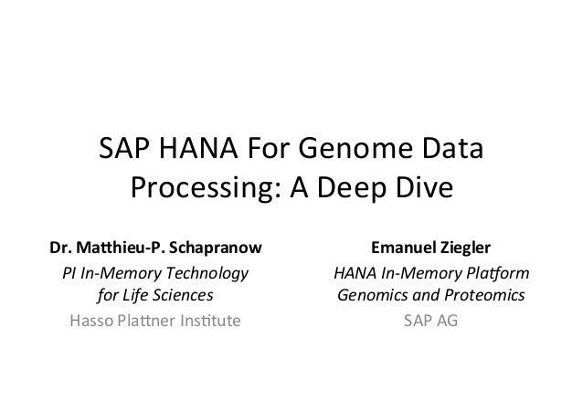SAP HANA For Genome Data           Processing: A Deep Dive Dr. Mahieu-‐P. Schapranow         Eman...