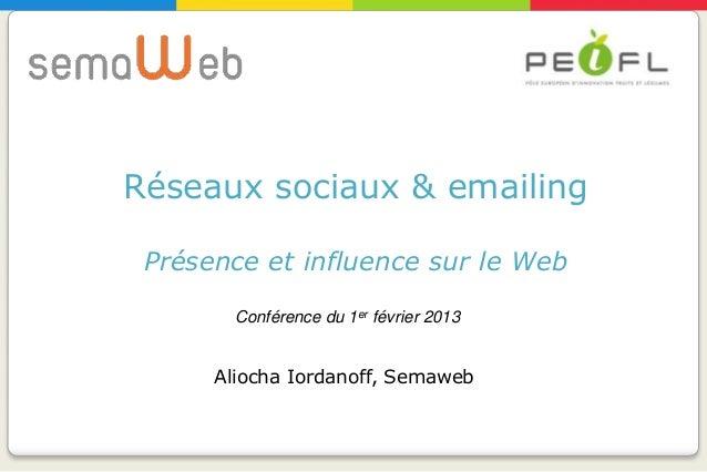 Réseaux sociaux & emailing Présence et influence sur le Web        Conférence du 1er février 2013      Aliocha Iordanoff, ...
