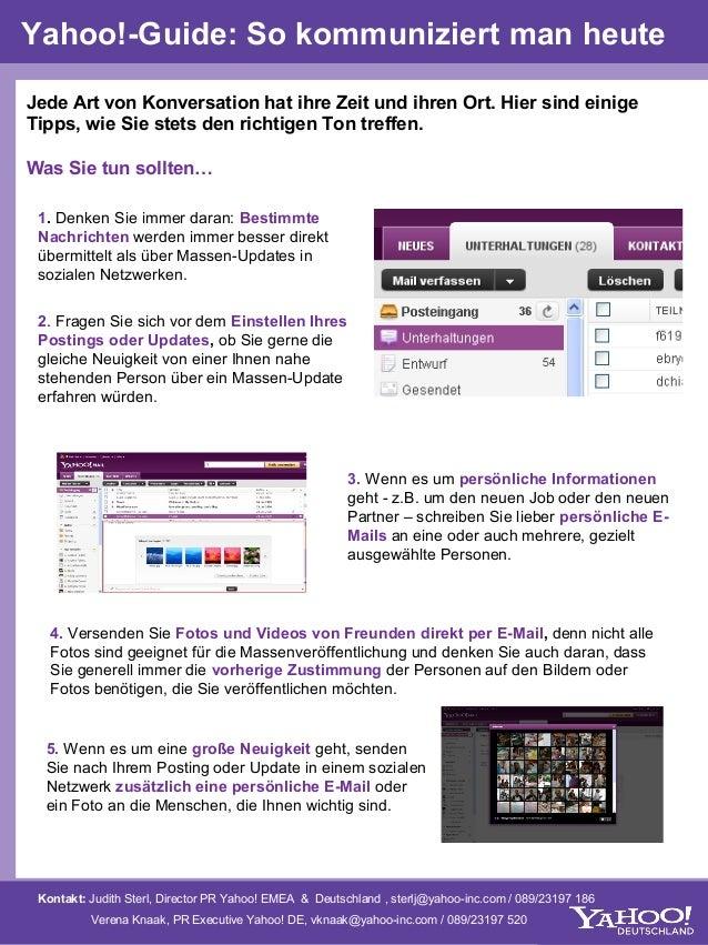 Yahoo!-Guide: So kommuniziert man heuteJede Art von Konversation hat ihre Zeit und ihren Ort. Hier sind einigeTipps, wie S...