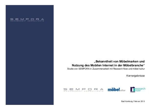 """""""Bekanntheit von Möbelmarken und    Nutzung des Mobilen Internet in der Möbelbranche""""Studie von SEMPORA in Zusammenarbeit ..."""