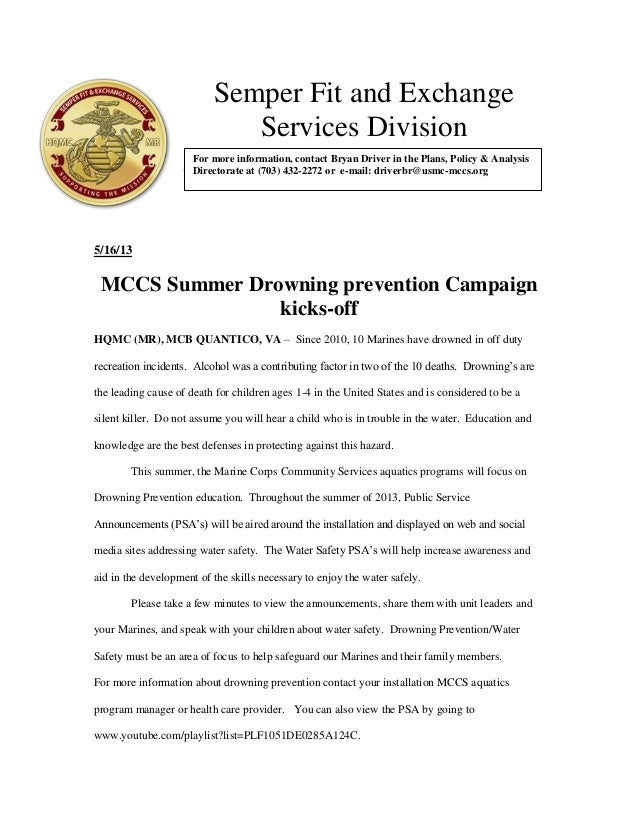Semper Fit and ExchangeServices Division1112065/16/13MCCS Summer Drowning prevention Campaignkicks-offHQMC (MR), MCB QUANT...