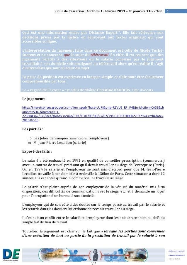 Arrêt Cour de Cassation du 13 février 2013