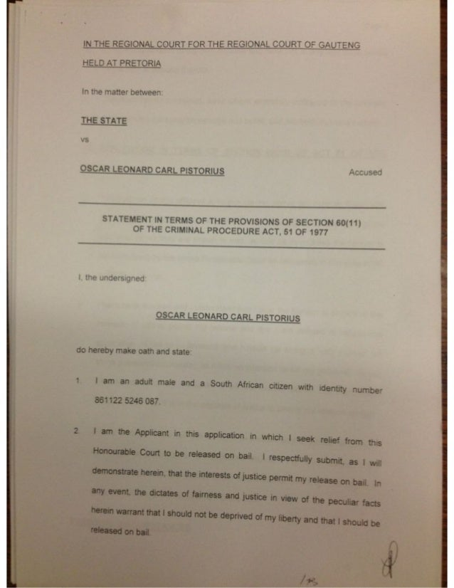 Full affidavit by Oscar Pistorius in Pretoria