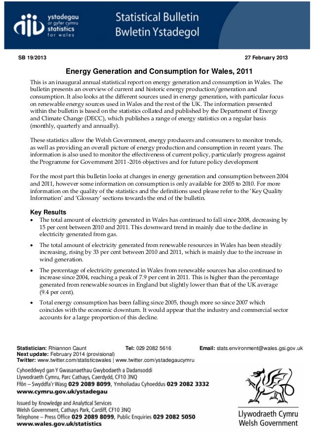 Wales energy generation and consumption