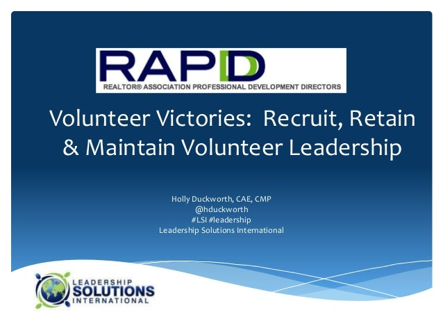 130305 rapdd   volunteer victories recruit, retain, maintain volunteer leadership