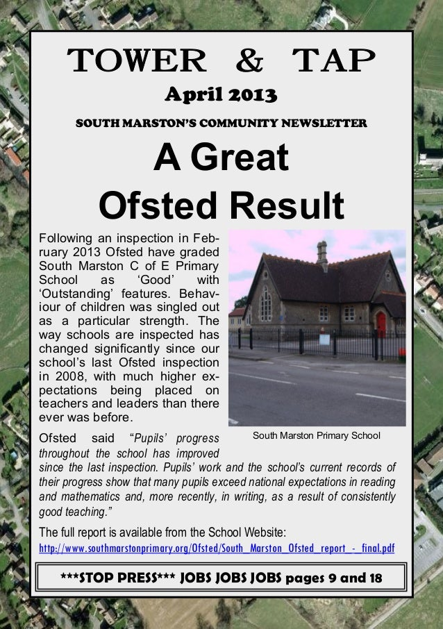 TOWER & TAP                            April 2013        SOUTH MARSTON'S COMMUNITY NEWSLETTER                A Great      ...