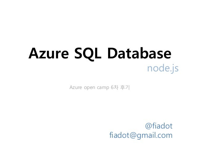SQLER on Windows Azure camp - SQL Database