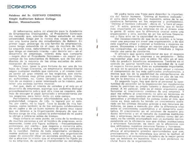 Discurso de Gustavo Cisneros: Academia de Empresarios Distinguidos (Abril 15, 1981)