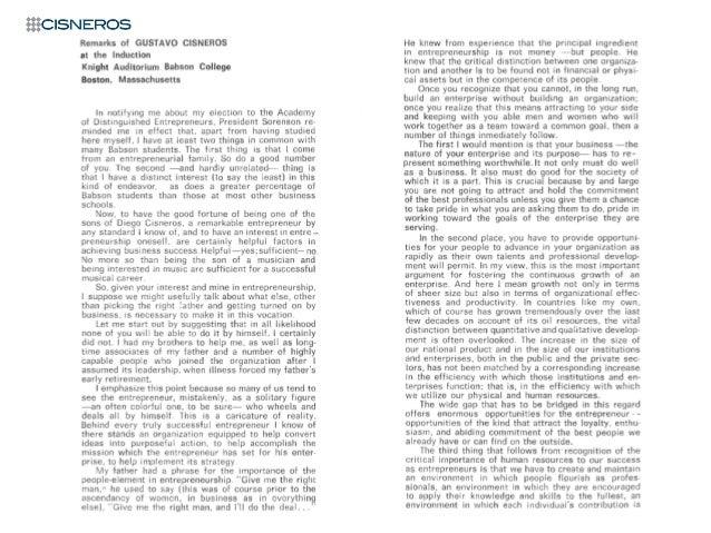 Gustavo Cisneros' speech: Academy of Distinguished Entrepreneurs (April 15, 1981)
