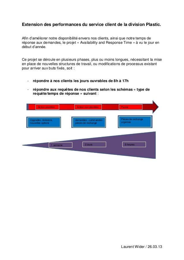 Laurent Wider / 26.03.13Extension des performances du service client de la division Plastic.Afin d'améliorer notre disponi...