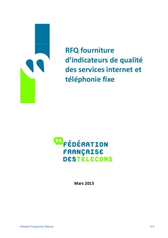 RFQ fourniture                                    d'indicateurs de qualité                                    des services...