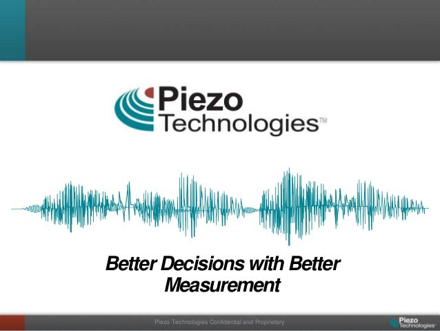 Better Decisions with Better       Measurement      Piezo Technologies Confidential and Proprietary