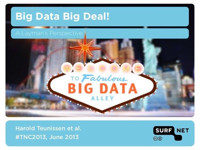 BIG DATAA L L E YBig Data Big Deal!Harold Teunissen et al.#TNC2013, June 2013A Layman's Perspective