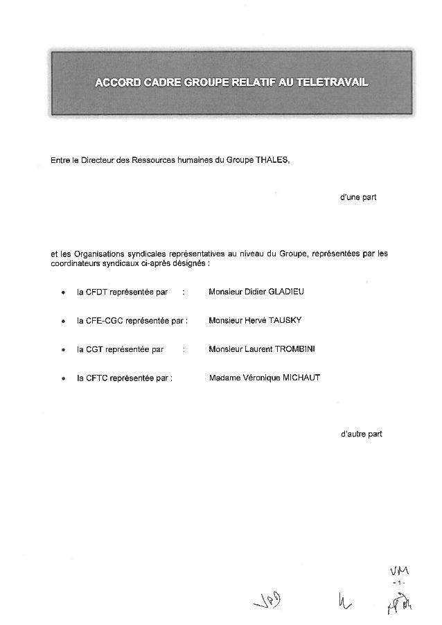 Accord-cadre télétravail Groupe Thalès