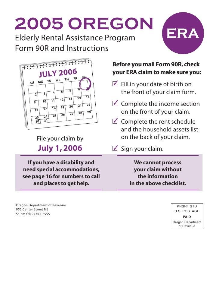 2005 OREGON Elderly Rental Assistance Program Form 90R and Instructions                                                   ...