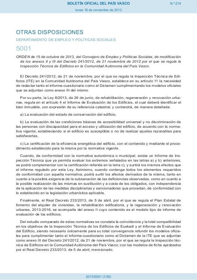 BOLETÍN OFICIAL DEL PAÍS VASCO  N.º 219  lunes 18 de noviembre de 2013  OTRAS DISPOSICIONES DEPARTAMENTO DE EMPLEO Y POLÍT...