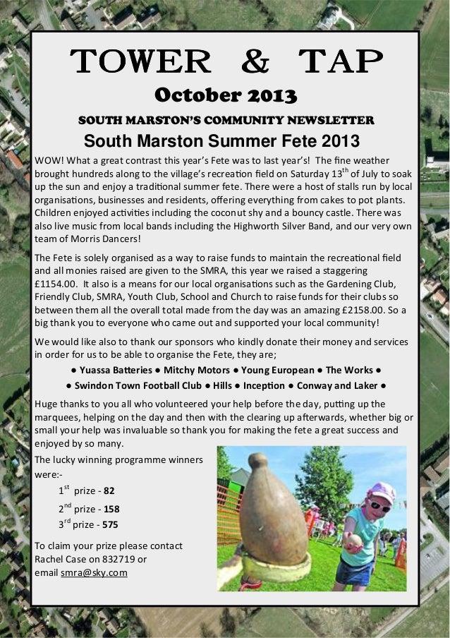 towerandtap@southmarston.org.uk TOWER & TAPTOWER & TAPTOWER & TAPTOWER & TAP October 2013 SOUTH MARSTON'S COMMUNITY NEWSLE...