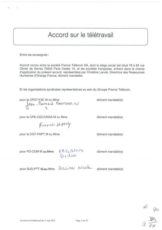 Accord sur le télétravail France Telecom-Orange