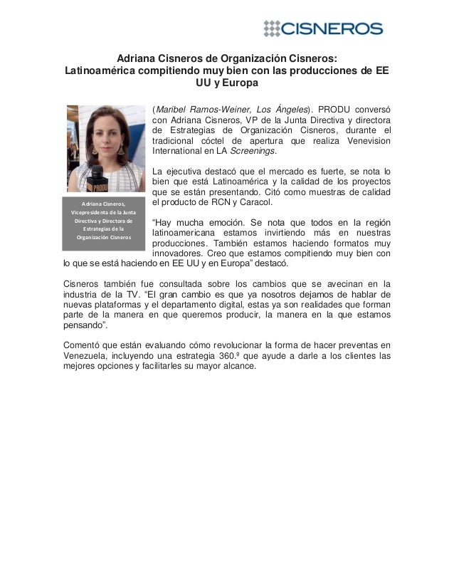 Adriana Cisneros de Organización Cisneros: Latinoamérica compitiendo muy bien con las producciones de EE UU y Europa. PRODU