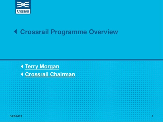 Terry MorganCrossrail ChairmanCrossrail Programme Overview5/29/2013 1
