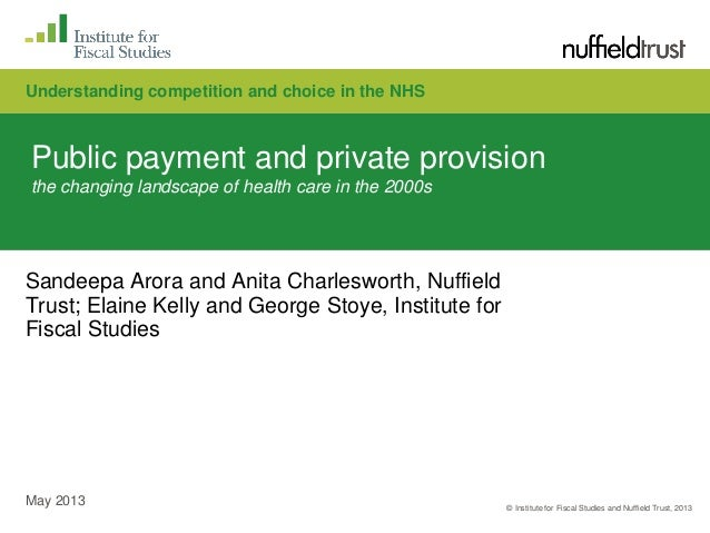 © Institute for Fiscal Studies and Nuffield Trust, 2013May 2013Public payment and private provisionthe changing landscape ...