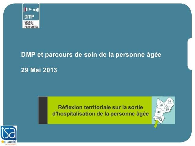 DMP et parcours de soin de la personne âgée29 Mai 2013Réflexion territoriale sur la sortiedhospitalisation de la personne ...