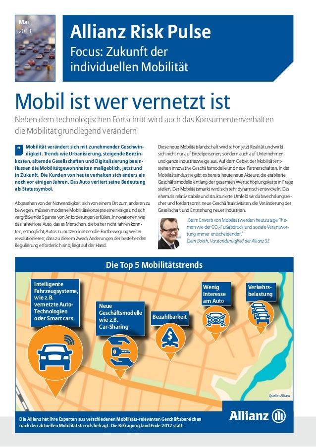 Allianz Risk Pulse – Fokus: Zukunft der individuellen Mobilität  Seite 1Mobil ist wer vernetzt istAllianz Risk PulseFocus...