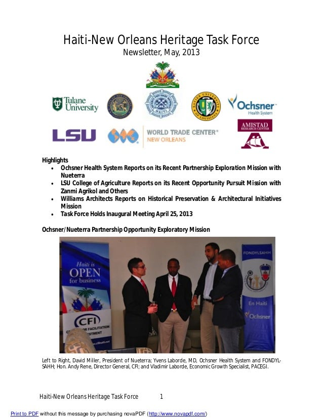 Haiti-New Orleans Heritage Task Force Newsletter, May 2013