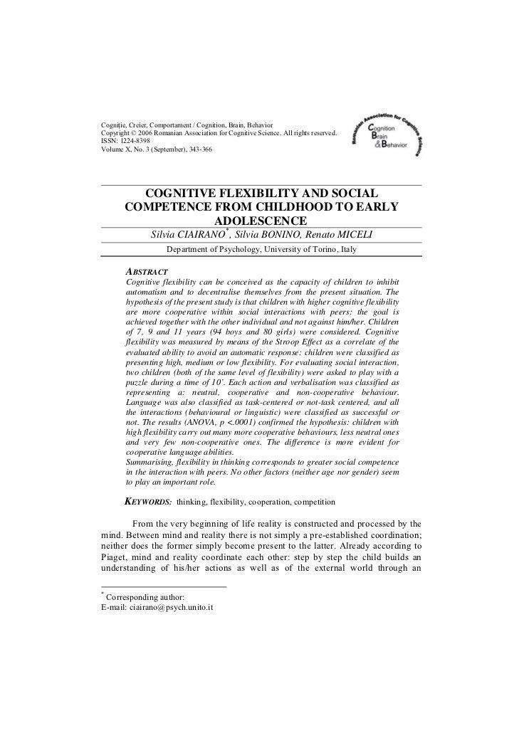 Cogniţie, Creier, Comportament / Cognition, Brain, BehaviorCopyright © 2006 Romanian Association for Cognitive Science. Al...