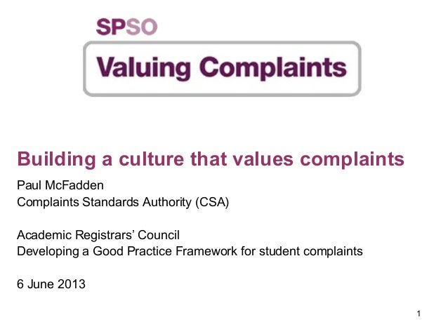Developing a Good Practice Guide for Student Complaints - Paul McFadden