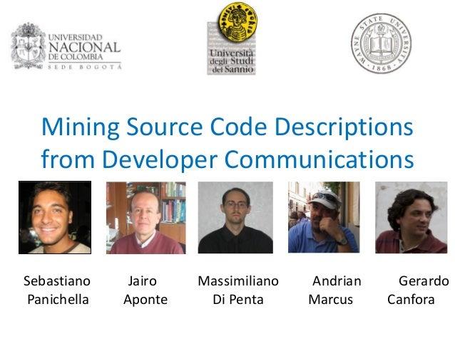 130614   sebastiano panichella -  mining source code descriptions from developers communications