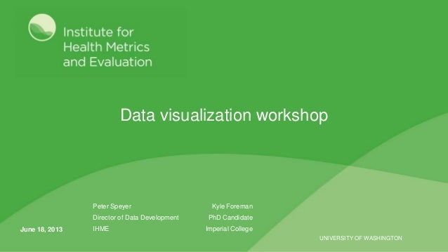 UNIVERSITY OF WASHINGTONData visualization workshopPeter Speyer Kyle ForemanDirector of Data Development PhD CandidateIHME...