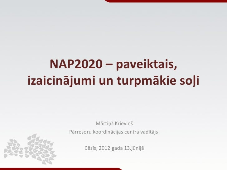 NAP2020 – paveiktais, izaicinājumi un turpmākie soļi
