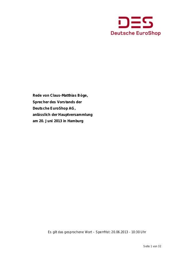 Seite 1 von 32Rede von Claus-Matthias Böge,Sprecher des Vorstands derDeutsche EuroShop AG,anlässlich der Hauptversammlunga...