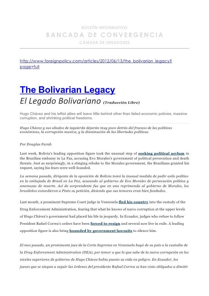 BOLETÍN INFORMATIVO                BANCADA DE CONVERGENCIA                                    CÁMARA DE SENADOREShttp://ww...