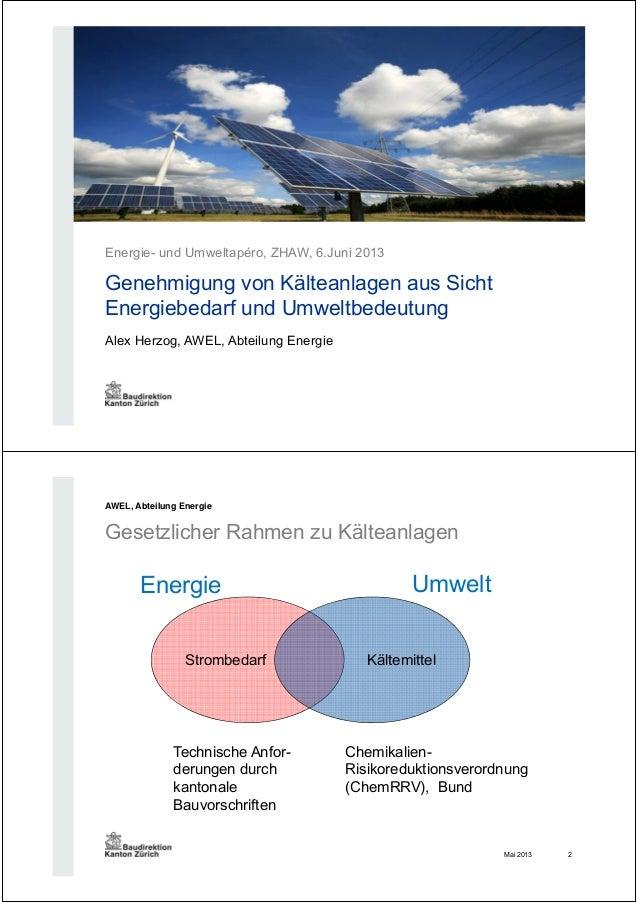 Alex Herzog, AWEL, Abteilung Energie Energie- und Umweltapéro, ZHAW, 6.Juni 2013 Genehmigung von Kälteanlagen aus Sicht En...