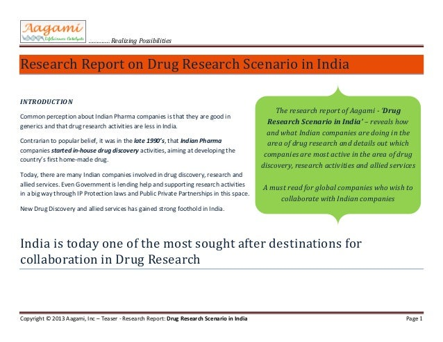 Teaser for report - Drug Research Scenario in India