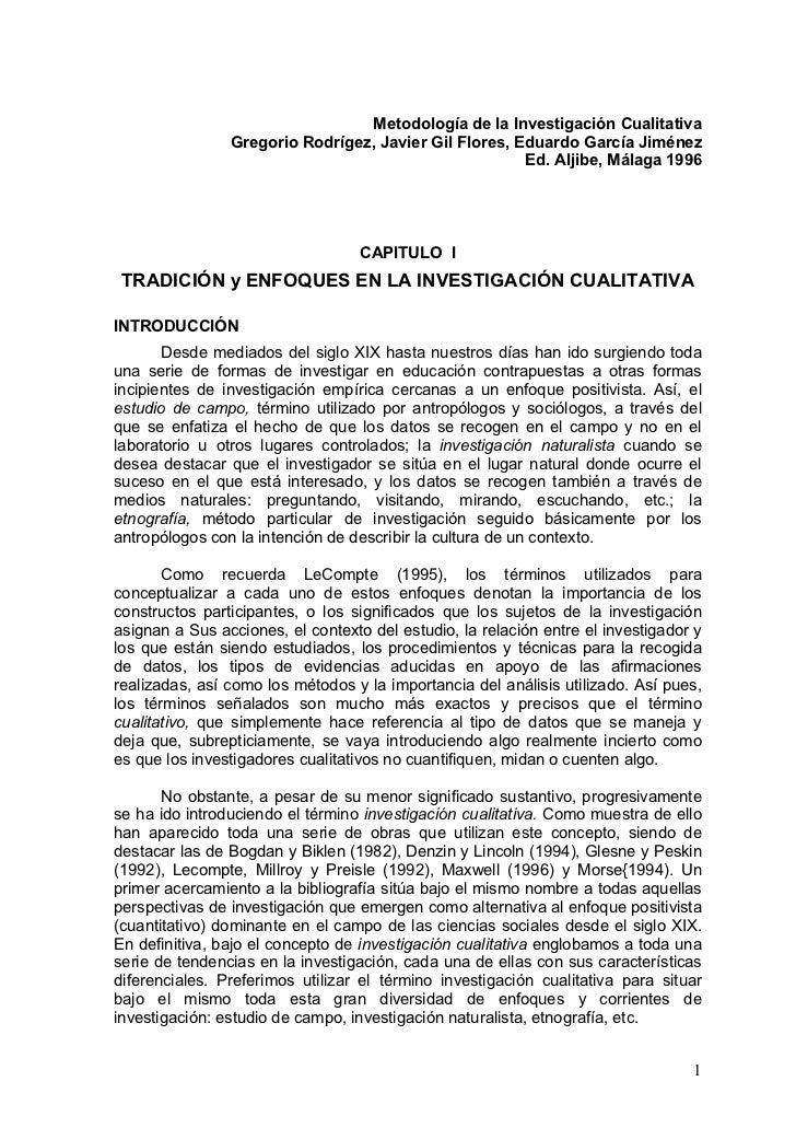 Metodología de la Investigación Cualitativa                Gregorio Rodrígez, Javier Gil Flores, Eduardo García Jiménez   ...