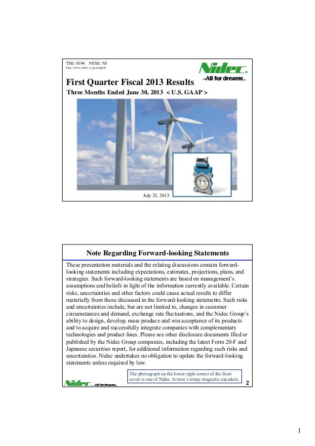 Nidec First Quarter Fiscal 2013 Results