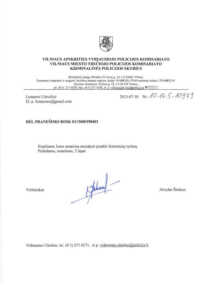 VILNIAUS APSKRITIES VYRIAUSIOJO POLICIJOS KOMISARIATO   VILNIAUS MIESTO TRECIOJO POLICIJOS KOMISARIATO   KRIMINALINES POLI...