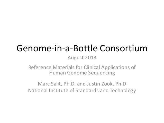 Genome-in-a-Bottle Consortium August 2013 Reference Materials for Clinical Applications of Human Genome Sequencing Marc Sa...
