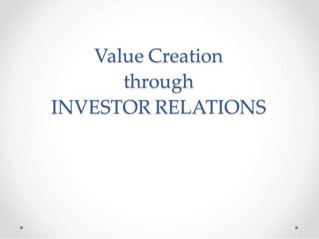 Value Creation through Investor Relations