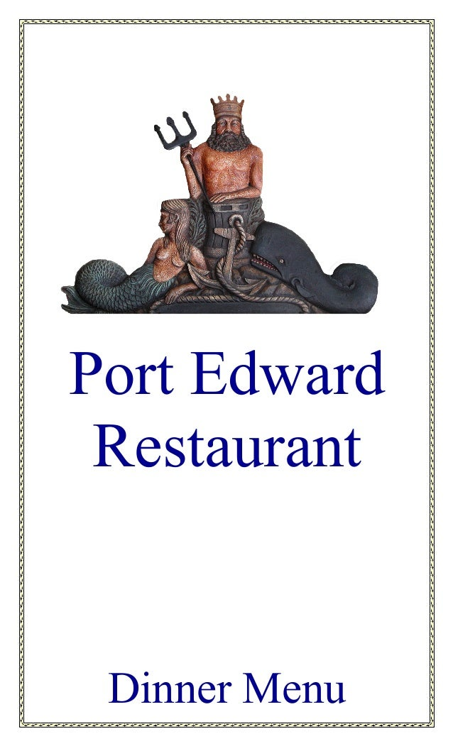 Port Edward Restaurant Dinner Menu