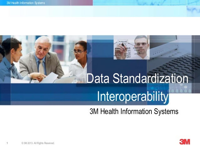 3M Health Information Systems 1 © 3M 2013. All Rights Reserved. 3M Health Information Systems Data Standardization Interop...