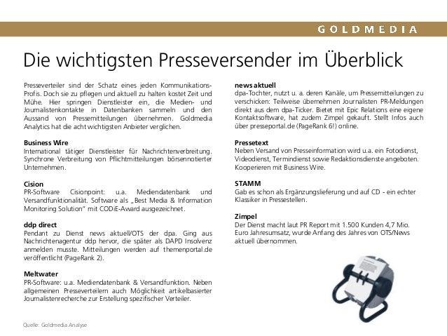 Die wichtigsten Presseversender im Überblick Quelle: Goldmedia Analyse Presseverteiler sind der Schatz eines jeden Kommuni...
