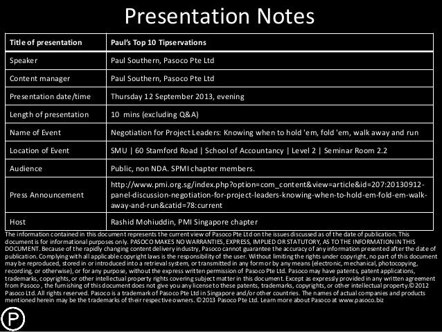 Presentation Notes Title of presentation Paul's Top 10 Tipservations Speaker Paul Southern, Pasoco Pte Ltd Content manager...