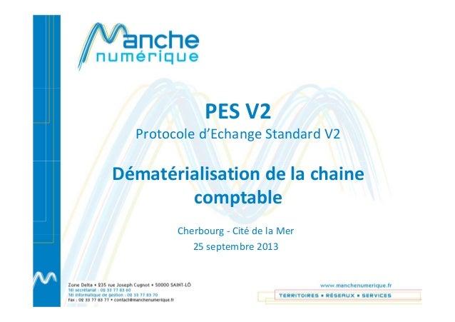 PES V2 Protocole d'Echange Standard V2 Dématérialisation de la chaine comptable Cherbourg - Cité de la Mer 25 septembre 20...