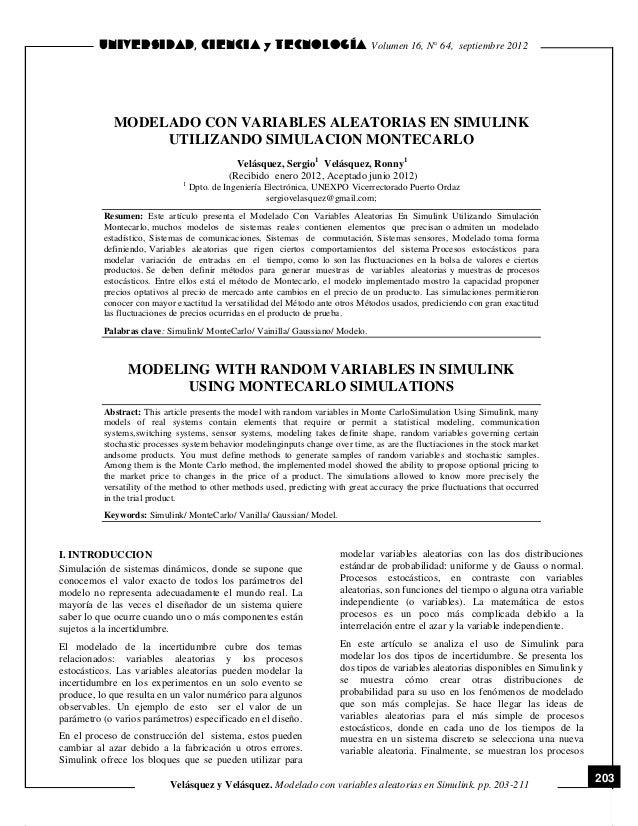 Volumen 16, N° 64, septiembre 2012  MODELADO CON VARIABLES ALEATORIAS EN SIMULINK UTILIZ...